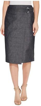 Ellen Tracy Women's Faux Wrap Belted Skirt