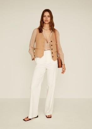 MANGO Linen high-waist pants ecru - 10 - Women