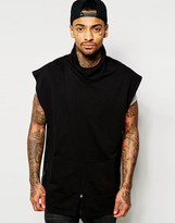 Asos Jersey Oversized Sleeveless Waistcoat With Funnel Neck - Black