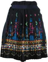 Sacai tribal lace wrap front shorts