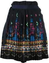 Sacai tribal lace wrap front shorts