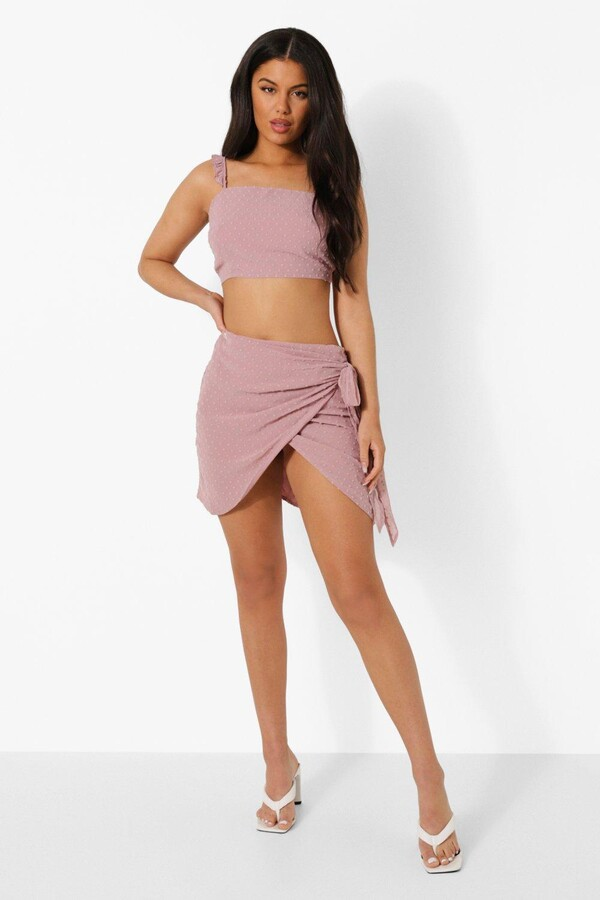 Thumbnail for your product : boohoo Dobby Ruffle Strap Top And Skirt Co-ord