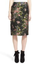 Lanvin Metallic Floral Brocade Pencil Skirt