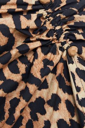 Ganni Barbell-embellished Floral-print Cotton-poplin Midi Skirt