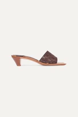Bottega Veneta Intrecciato Leather Mules - Brown