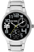 Zoo York Mens Black And Silvertone Leather Strap Watch