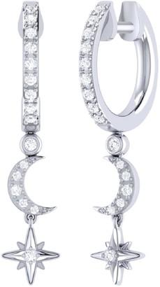 Lmj Starlit Crescent Hoop Earrings In Sterling Silver