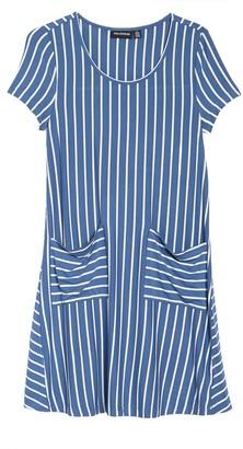 Nina Leonard Striped Jewel Neck Pocket Knit Dress
