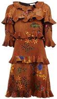 Fendi floral ruffle dress - women - Silk/Spandex/Elastane - 42