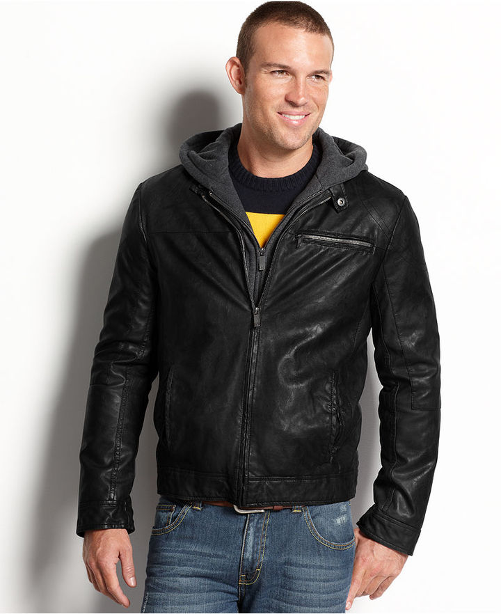 Kenneth Cole Reaction Jacket, Faux-Leather Hooded Bomber Jacket