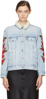 Levi's Levis Indigo Embroidered Denim Ex-boyfriend Sherpa Jacket