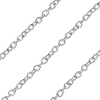 Beadaholique Bulk Cable Chain, Oval Links 1.5x1mm and 31 Gauge Thick, by the Foot, Sterling Silver