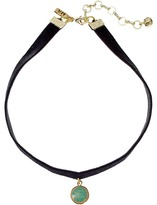 Vanessa Mooney Black Velvet Choker with Small Circle Turquoise Charm Necklace