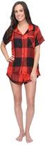 Plush Ultra Soft Short Sleeve Woven Buffalo Plaid PJ Set Women's Pajama Sets