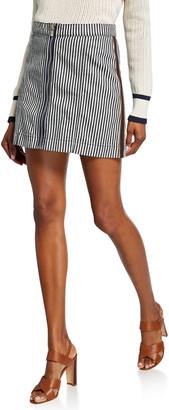 Veronica Beard Ava Striped Mini Skirt w/ Tux Exposed Zipper