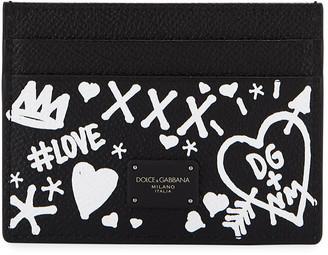 Dolce & Gabbana Men's Graffiti Leather Card Case