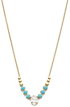 """Eliot Danori 18k Gold-Plated Cubic Zirconia & Stone Statement Necklace, 15"""" + 3"""" extender, Created for Macy's"""