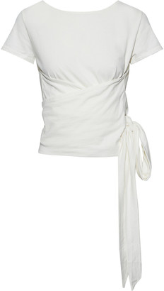 Iris & Ink Darian Cotton-jersey Wrap Top