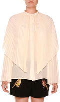 Stella McCartney Pleated Silk Capelet Blouse, Ivory