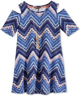 Sequin Hearts Chevron Cold-Shoulder Dress with Necklace, Big Girls (7-16)