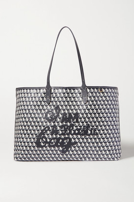Anya Hindmarch Net Sustain I Am A Plastic Bag Large Leather-trimmed Printed Coated-canvas Tote - Navy