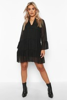 boohoo Plus Dobby Mesh 2 in 1 Smock Dress