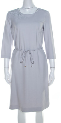 Boss by Hugo Boss Light Grey Crepe Floral Embroidered Dress M