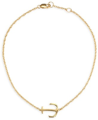 Jennifer Zeuner Jewelry Alexa Anchor 18K Yellow Gold Vermeil Anklet
