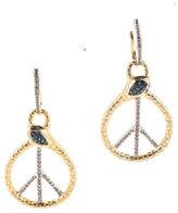 NEW RARITIES Sterling Silver Blue White Diamond Snake Peace Sign Hoop Earrings