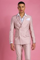 boohoo Mens Pink Skinny Plain Double Breasted Suit Jacket, Pink