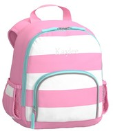 Pottery Barn Kids Pre-K Backpack, Fairfax Pink White with Aqua Trim, No Patch