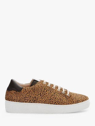 Mint Velvet Allie Animal Print Leather Lace Up Trainers, Leopard