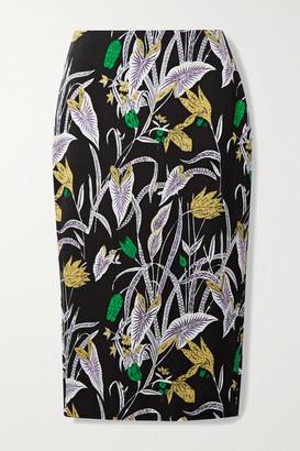 Diane von Furstenberg Kara Printed Crepe Midi Skirt - Black