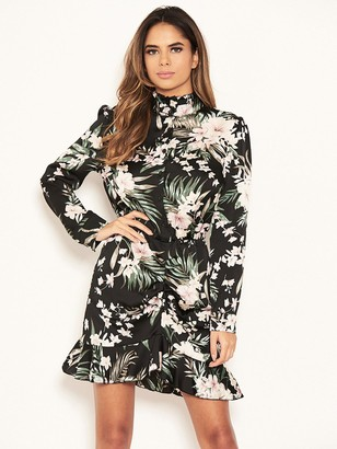 Ax Paris Petite Floral Ruched Front Shirt Dress - Black