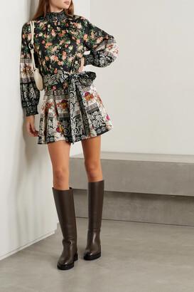 Alice + Olivia - Janis Belted Printed Stretch-cotton Mini Dress - Black