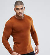 Asos Tall Muscle Fit Cotton Jumper In Tan