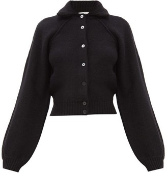 Lemaire Ribbed-collar Wool Cardigan - Black