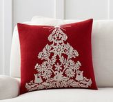 Pottery Barn Christmas Tree Embroidered Pillow Cover