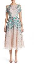Lela Rose Women's Floral Matelasse Cold Shoulder Dress