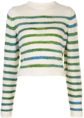 The Elder Statesman Stripe Print Jumper
