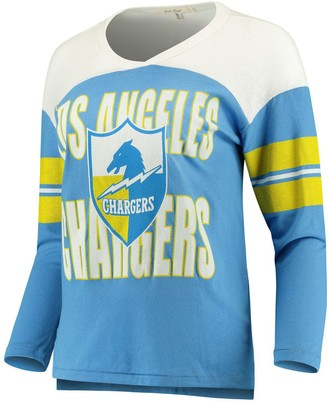 Junk Food Clothing Unbranded Women's Powder Blue/White Los Angeles Chargers Throwback Football Long Sleeve T-Shirt