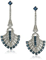 Ben-Amun Jewelry Silver-Tone Crystal and Simulated-Sapphire Drop Earrings