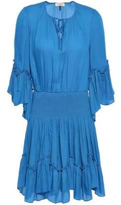 Halston Ruffle-trimmed Shirred Crepe Mini Dress