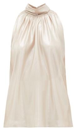 Diane von Furstenberg Dove High-neck Lame Blouse - Gold