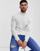 Asos Design DESIGN cotton turtle neck jumper in white