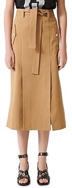 Maje Jude Belted Midi Skirt