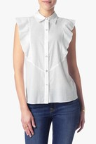 7 For All Mankind Sleeveless Ruffle Front Shirt