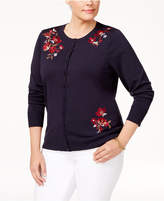 Charter Club Plus Size Embroidered Cardigan, Only at Macy's