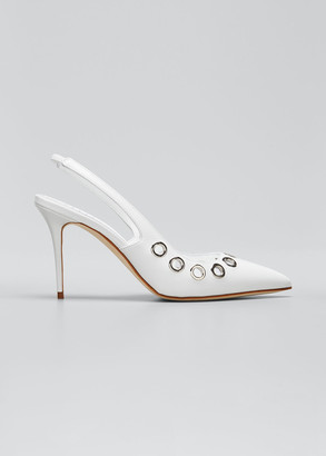 Manolo Blahnik Elvura Grommet Leather Slingback Pumps