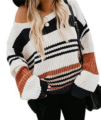 KIRUNDO Women's Strip Color Block Short Sweater Long Sleeves Stitching Color Round Neck Loose Pullovers Jumper Tops (